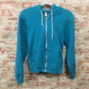 Teal blue American Apparel zip up hoodie